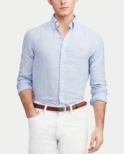 Lniana koszula w niebieskie paski