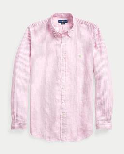 Lniana koszula w różowe paski
