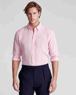 Lniana koszula w różowe paski Classic Fit