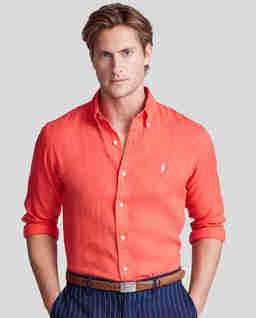Lniana koszula w kolorze czerwonym Classic Fit
