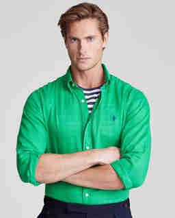 Zielona koszula z lnu Custom Fit