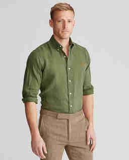 Zielona koszula z lnu Slim Fit