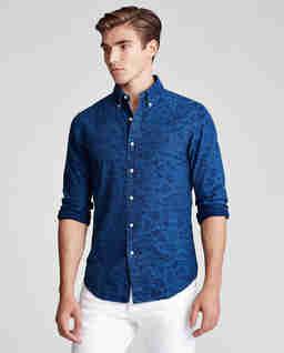 Żakardowa koszula w kwiatowy wzór Slim Fit