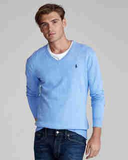 Niebieski sweter z bawełny Slim Fit