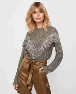 Melanżowy sweter z frędzlami