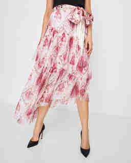 Różowa jedwabna spódnica