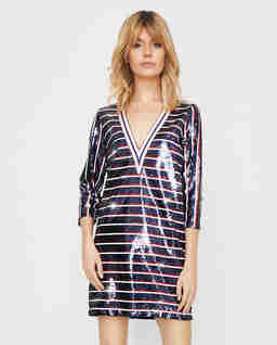Cekinowa sukienka w paski