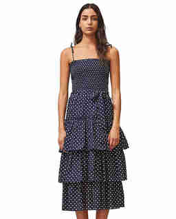 Granatowa sukienka w kropki