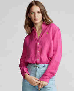 Różowa koszula z lnu Relaxed Fit