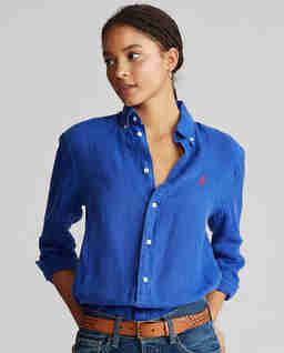 Niebieska koszula z lnu Relaxed Fit