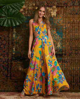 Żółta sukienka maxi Leticia