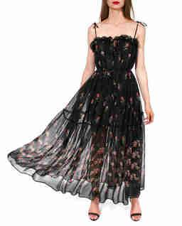 Czarna sukienka z jedwabiem Rosana