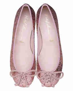Różowe baleriny z brokatem Rosario