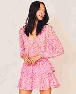 Różowa sukienka z jedwabiu Popover