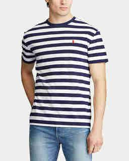 Granatowy t-shirt w paski
