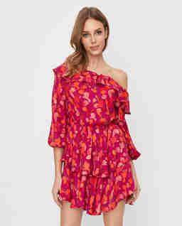 Różowa sukienka hiszpanka Fiori