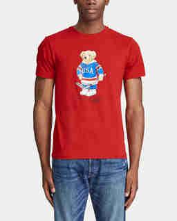 Czerwony t-shirt z misiem