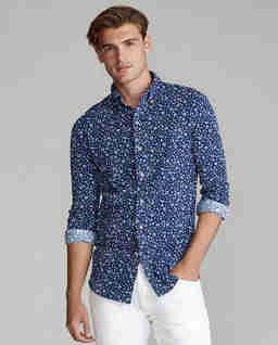 Koszula w kwiatowy wzór Mesh Slim Fit