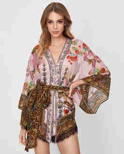 Różowe kimono z jedwabiu