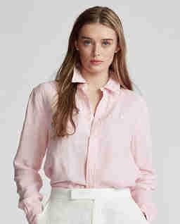 Růžová lněná košile Relaxed Fit