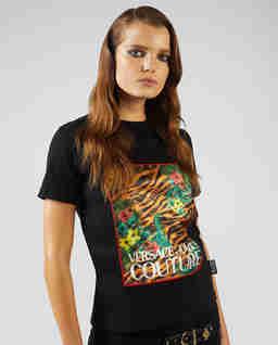 Czarny t-shirt z motywem tropikalnym