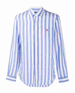 Lniana koszula w biało-niebieskie paski Slim Fit