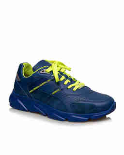 Granatowe sneakersy ze sznurówkami fluo