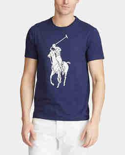 Granatowy t-shirt z jeźdźcem polo Slim Fit