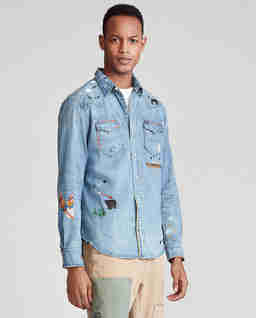 Koszula jeansowa w ozdobne hafty Classic Fit