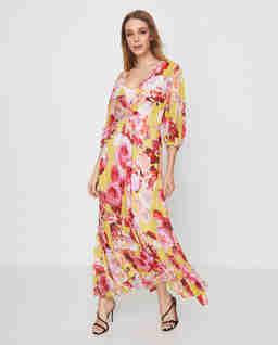 Sukienka midi w róże Baci Di Dama