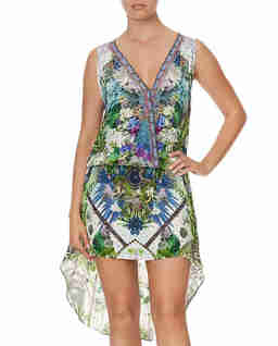Jedwabna sukienka mini w roślinny wzór