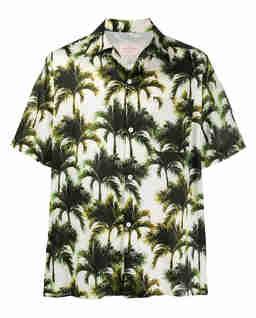 Biała koszula w palmy