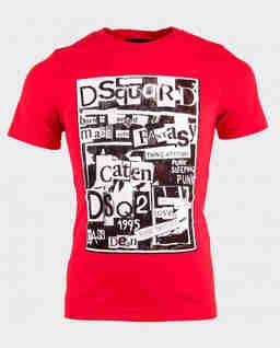 Czerwony t-shirt z nadrukiem 4-14 lat