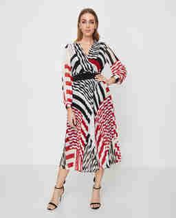 Plisowana sukienka w pasy Agostin