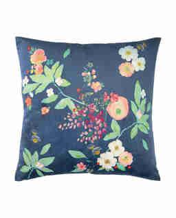 Granatowa poduszka w kwiaty Boudoir