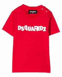 Czerwona koszulka z logo 0-3 lat