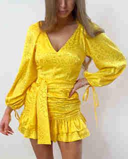 Żółta sukienka w cętki Loca