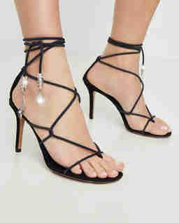 Czarne sandały na szpilce Askee