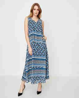 Niebieska sukienka we wzory Lacuna