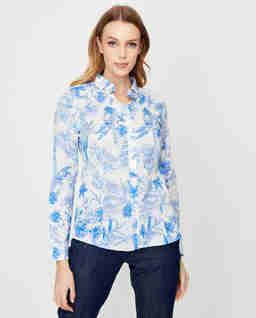 Biała koszula we wzory Fato