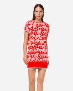 Dzianinowa sukienka mini z nadrukiem