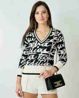 Dwukolorowy sweter  z nadrukiem