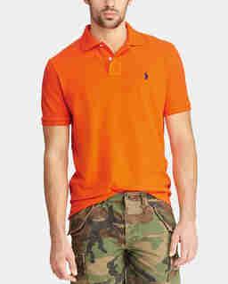 Pomarańczowa koszulka polo Slim Fit Mesh
