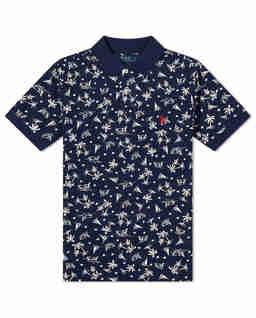 Granatowa koszulka polo w żaglówki Custom Fit