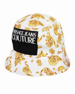 Biały kapelusz z nadrukiem
