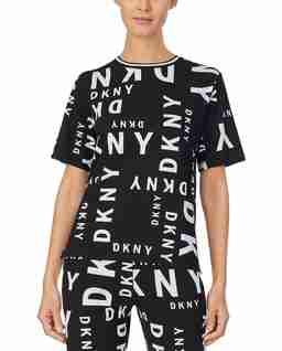 Czarny t-shirt piżamowy z logowaniem