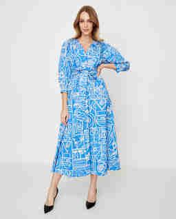 Niebieska sukienka we wzory Rancio