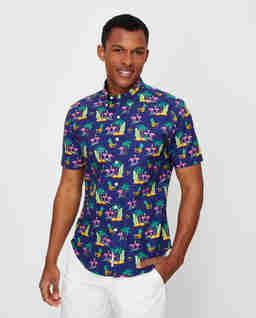Koszula z krótkim rękawem we flamingi Slim Fit