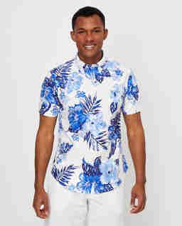 Koszula w hawajski wzór Slim Fit