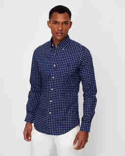 Granatowa koszula we wzór Slim Fit